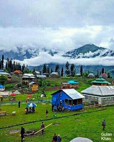 Fantastic beauty wonderful cloudy view beautiful houses in Neelum valley Azad Kashmir Pakistan