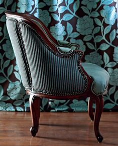 """Blue velvet """"Lincoln Chair"""" from Hancock & Moore. Background is """"Hermosa"""" by Romo Fabrics (via Traditional Home) love piping &tac!"""
