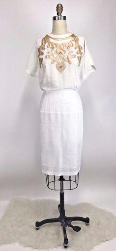 Vintage 80s ROCKABILLY WESTERN PINUP Gold Embellished Bling White Dress Sz L #Unbranded