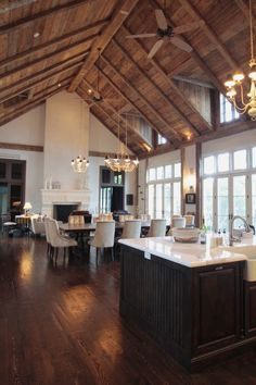 Wood plank ceiling with beams