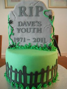 For Michael - 30th birthday cake. Order a sheet cake (green icing) and make the tombstone (sugar cookie?)