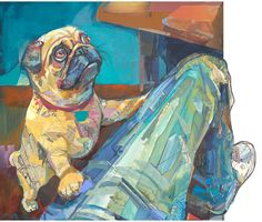 Pug - Print of my Original Collage & Acrylic Painting- High Quality archival paper and ink. $150.00, via Etsy.
