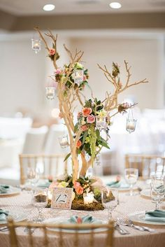 Rustic wedding centerpieces are works of art which arrest your sight, immerse guests in a warm and cozy atmosphere. Branch Centerpieces, Simple Wedding Centerpieces, Floral Centerpieces, Winter Wedding Ceremonies, Wedding Ceremony Decorations, Flower Decorations, Wedding Themes, Wedding Ideas, Romantic Candles