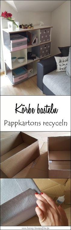 So ein cooles Upcycling! Körbe selber basteln mit Bastelfilz und alten Pappkartons