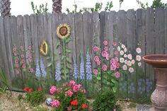 flowers to camoflage an ugly fence and provide a year-round view from the kitchen window