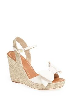 Free shipping and returns on kate spade new york 'jumper' sandal at Nordstrom.com. An oversized bow adorns the toe of an easy wedge sandal wrapped in braided jute for earthy, boho-chic appeal—while a contrast ankle strap and delicate gilt buckle add a touch of polish.
