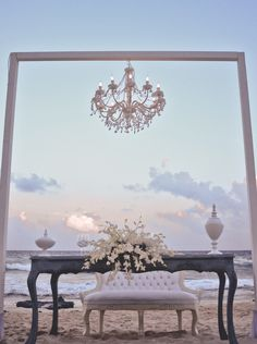chandeliers on the beach