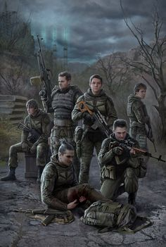 this is a another good image to show character design. they are on high alert but resting, one of them is wounded