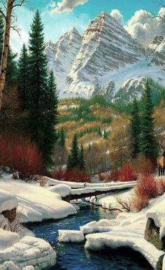 Such a beautiful photo of mountains and the river running through the valley. Beautiful World, Beautiful Places, Landscape Photography, Nature Photography, Travel Photography, Nature Scenes, Winter Scenes, Nature Pictures, Amazing Nature