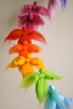 Children mobile Waldorf inspired needle felted : The door MagicWool