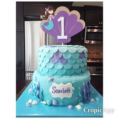 😍😍 This weekend's masterpiece! Mermaid themed cake for a 1st birthday party today. It's a white cake with purple swirls throughout - the customer doesn't know about that detail.. I wanted it to be a fun surprise! ☺️ I just love when my creations turn out better than I imagined. I LOVE it! 💜💜 Happy 1st birthday, Scarlett! #cakemeaway #mermaid #1stbirthdaycake #fondant #customcakes #handmadewithlove #lovewhatyoudo