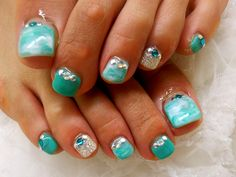 turquoise toenails