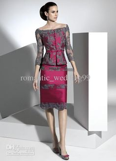 Wholesale Fuchsia Bateau Neck Three Quarter Length Long Sleeves Lace Jacket Mother Of the Bride Dresses, Free shipping, $135.99/Piece | DHgate