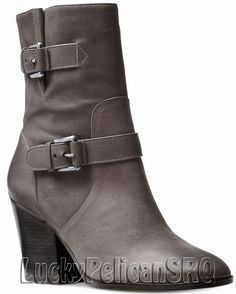 Michael Kors Ashton Zippered Booties Boots Leather Charcoal Gray M(Medium)  NWB #MichaelKors #Booties