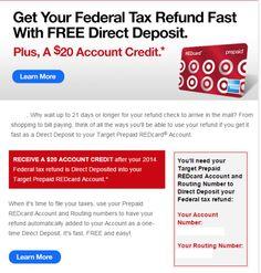 Target Prepaid REDcard $20 Federal Tax Refund Bonus Credit. #taxes #taxrefund