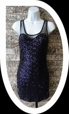 Purple Sequined Tank Dress with Black Mesh Back
