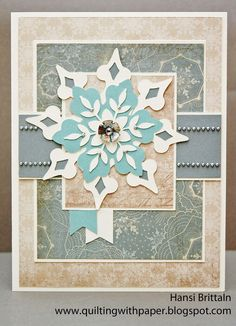 Materials, all Close to my Heart unless otherwise noted: Paper:  Frosted, Frosted Blue, Frosted Gray and Colonial White cardstock Embellishments:  Base and Bling Floral Accent, silver pearls from Michael's Other:  Art Philosophy Cricut Cartridge--page 27.
