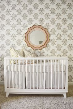 Baby Girl Nursery by @sitaminteriors featuring our Jaipur Wallpaper.