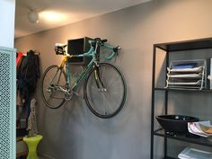 Needed to hang my bike in my flat and did not look too ugly with no bike on it ... so i hacked a wall mounted bike rack from the IKEA VALJE
