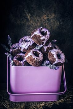 Dark chocolate mini cakes with lavender glaze. | 17 Easy Mini Desserts To Make When You're So Over Cupcakes