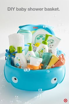 Gift the parents-to-be with everything they'll need for Baby's first bath. Start with the Fisher-Price Precious Planet Whale of a Tub that grows with Baby, and is soft on skin. Then, add organic Babyganics bubble bath, shampoo and lotion, cotton washcloths, a hooded towel and a few toys. You're almost done—just place all the goodies in the tub and you've got one super-cute shower gift!