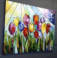 Original abstract flowers floral painting TULIPS ON by sallytrace, $275.00