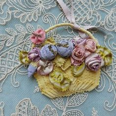"""Antique French Silk Ribbons Ribbonwork Piece Bucket of Flowers 3"""" x 4"""" 