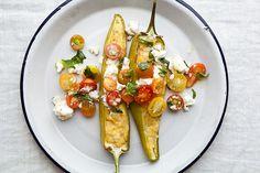 Polenta Stuffed Peppers Polenta, Poblano, Vegetarian Main Dishes, Vegetarian Recipes, Oregano Leaves, Basil Leaves, Corn Products, Fresco Cheese, Arroz
