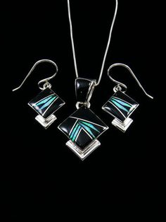 Navajo Sterling Silver Onyx Opal Inlay Necklace Earrings Set