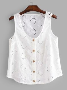 SHEIN offers Eyelet Embroidered Button Front Top & more to fit your fashionable needs.To find out about the [good_name] at SHEIN, part of our latest Tank Tops & Camis ready to shop online today! Summer Outfits, Casual Outfits, Cute Outfits, Blouse Styles, Blouse Designs, Diy Clothes, Clothes For Women, Blouse Vintage, Dress Patterns