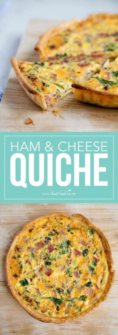 Everyone loves this ham and cheese quiche and it only takes 10 minutes to prep! It's made with a pie crust and eggs, spinach, ham and cheese in the filling. #quiche #breakfast #breakfastrecipes #brunch #mothersdaybrunch #recipe #easyrecipe #ham #cheese #iheartnaptime