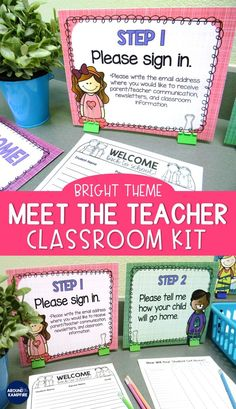 Manage Meet the Teacher Night like a pro with this editable classroom kit in brights classroom décor theme. Includes 10 important parent forms, procedure signs and table tents so parents know what to do while you meet new students. Organize supplies with editable labels too! Ideal for Kindergarten 1st, 2nd, and 3rd grade teachers. #backtoschool #meettheteacher #openhouse #parentfoms #parentnight #classroommanagement #openhouseideas #classroomdecor