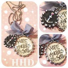 HOPE anchors the soul bubble soldered pendant with Anchor wax seal on chain. $38.00, via Etsy.