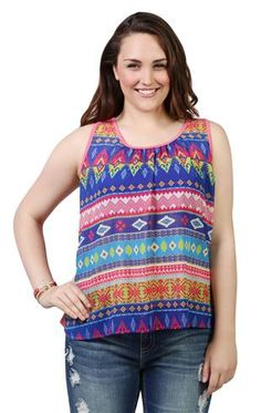 tribal print plus size tank with envelope back and high low cut I have this and I love it!