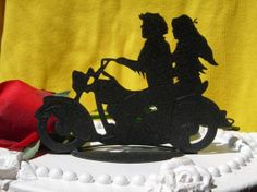 Motorcycle theme silhouette cake topper - Google Search - this would be easy to do in fondant