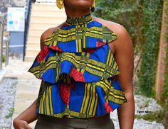 African print women ruffle detail halter top, bohemian ethnic chic style unique summer open back by FanmMon on Etsy https://www.etsy.com/listing/221821362/african-print-women-ruffle-detail-halter