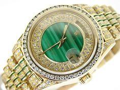 Rolex Gold Day Date Super President Full Diamond Watch Malachite