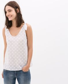 Image 1 of JACQUARD TOP WITH BOW ON SHOULDER from Zara