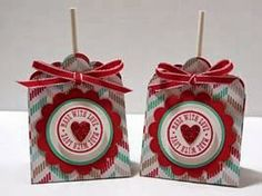 Peanuts and Peppers Papercrafting: Try It Thursday - Stampin' Up! Scalloped Tag Topper Punch Valentine's Lollipop Treats and Tutorial Valentine Treats, Valentine Day Crafts, Valentines, Valentine Cards, Diy Paper, Paper Crafts, Paper Ribbon, Craft Gifts, Diy Gifts