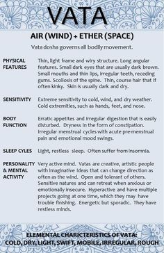 Vata Dosha Ayurveda This is a perfect description of myself. Except for the eyes thing...
