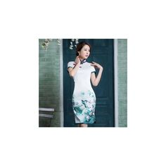 Short-Sleeve Print Cheongsam (€235) ❤ liked on Polyvore featuring dresses and women