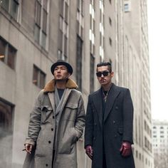 Anytime you see a unique take on the trusty overcoat (Left), you give props ~ Old Man Fancy.