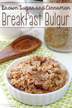 This is a sponsored conversation written by me on behalf of Hamilton Beach. The opinions and text are all mine. Get out your rice cooker and make this Brown Sugar and Cinnamon Breakfast Bulgur recipe! Health Breakfast, Breakfast Recipes, Breakfast Bites, Vegetarian Breakfast, Bulgur Recipes, Salad Recipes, Bulgar Wheat, Rice Cooker Recipes, Brown Sugar