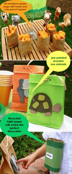 Dy_zoo_party_favors. Bolsas de papel con animalitos de madera para una fiesta salvaje!