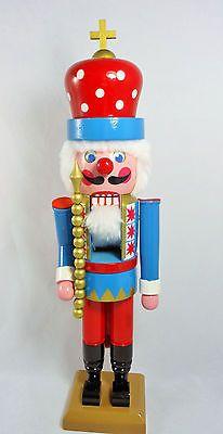 """Faroy Nutcracker Market Wood Nutcracker King 15-1/2"""" Gold Cross Scepter Red Blue"""