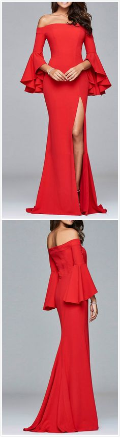 Red dress with bell sleeves and high slit