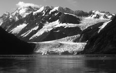alaska glacier night view black and white by markbowenfineart Landscape Photos, Landscape Photography, Travel Photography, Black And White Landscape, Photos Of The Week, Wonderful Places, Places To See, Things That Bounce, Tourism