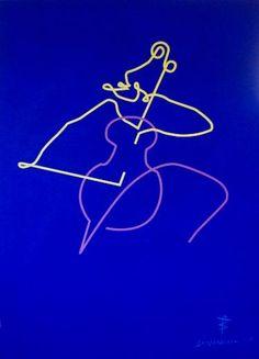"Saatchi Art Artist Bernard Simunovic; Painting, """"Cello"" , Contemporary Art, lines, abstract, figurative"" #art"