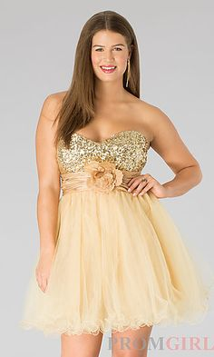 Short A-Line Tulle Plus Dress at PromGirl.com.  If I can't find anything, I really like this ❤️