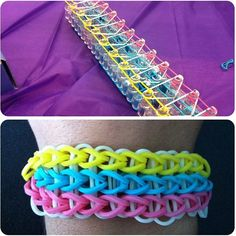 Rainbow loom bracelet- triple single. Luv the colours together.